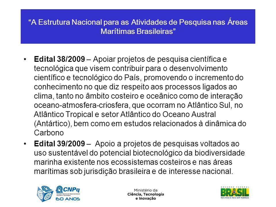 A Estrutura Nacional para as Atividades de Pesquisa nas Áreas Marítimas Brasileiras Edital 38/2009 – Apoiar projetos de pesquisa científica e tecnológ