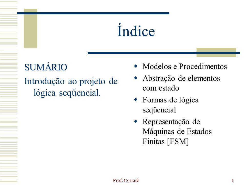 Prof. Corradi1 Índice SUMÁRIO Introdução ao projeto de lógica seqüencial. Modelos e Procedimentos Abstração de elementos com estado Formas de lógica s