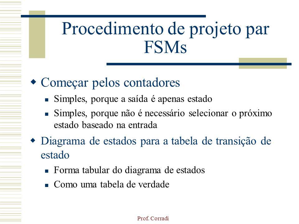 Prof. Corradi Procedimento de projeto par FSMs Começar pelos contadores Simples, porque a saída é apenas estado Simples, porque não é necessário selec
