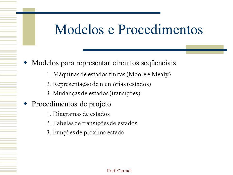 Prof. Corradi Modelos e Procedimentos Modelos para representar circuitos seqüenciais 1. Máquinas de estados finitas (Moore e Mealy) 2. Representação d