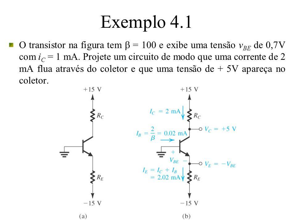 Exemplo 4.1 O transistor na figura tem = 100 e exibe uma tensão v BE de 0,7V com i C = 1 mA. Projete um circuito de modo que uma corrente de 2 mA flua