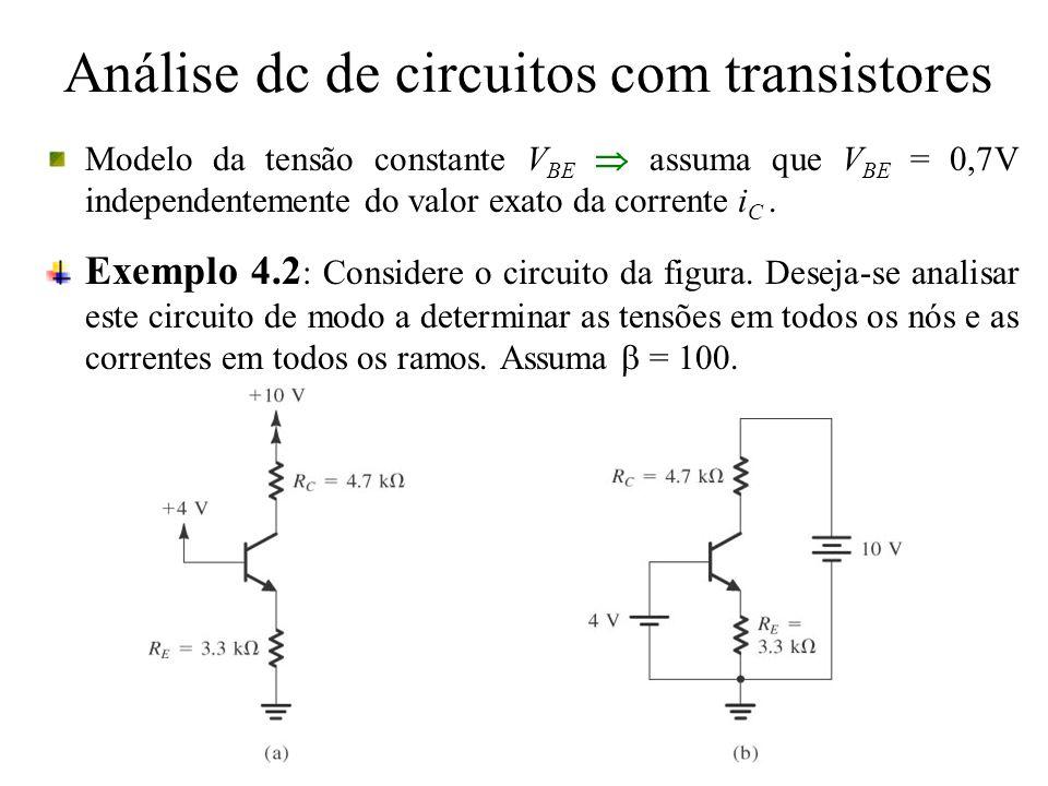 Análise dc de circuitos com transistores Modelo da tensão constante V BE assuma que V BE = 0,7V independentemente do valor exato da corrente i C. Exem