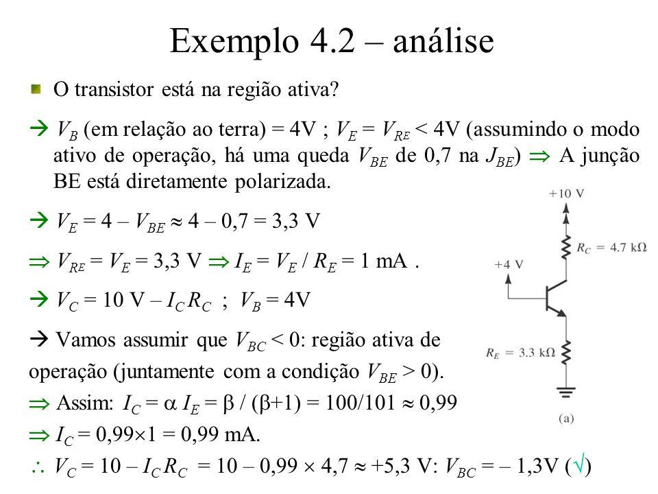 Exemplo 4.2 – análise O transistor está na região ativa? V B (em relação ao terra) = 4V ; V E = V R E < 4V (assumindo o modo ativo de operação, há uma