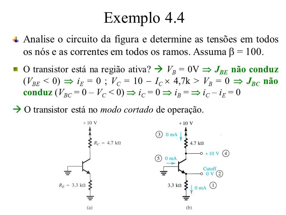 Exemplo 4.4 Analise o circuito da figura e determine as tensões em todos os nós e as correntes em todos os ramos. Assuma = 100. O transistor está na r