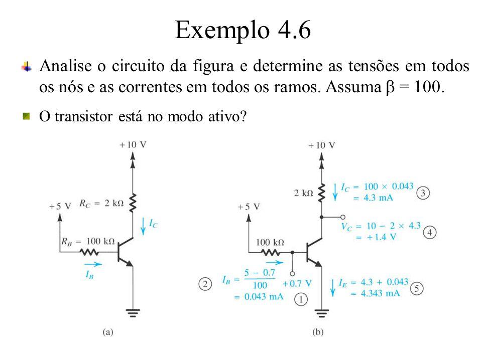 Exemplo 4.6 Analise o circuito da figura e determine as tensões em todos os nós e as correntes em todos os ramos. Assuma = 100. O transistor está no m