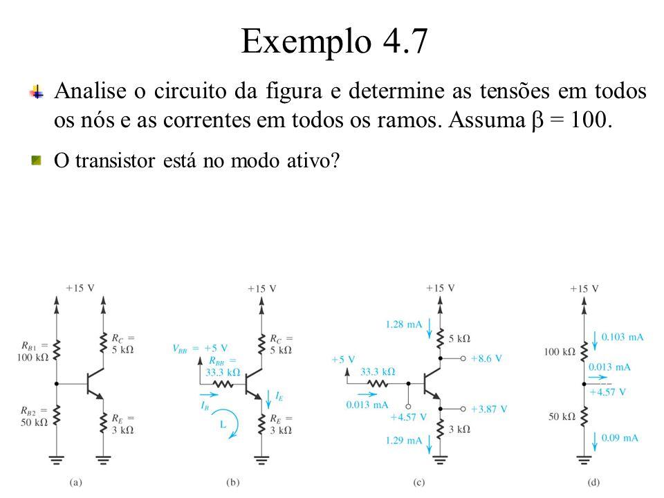 Exemplo 4.7 Analise o circuito da figura e determine as tensões em todos os nós e as correntes em todos os ramos. Assuma = 100. O transistor está no m