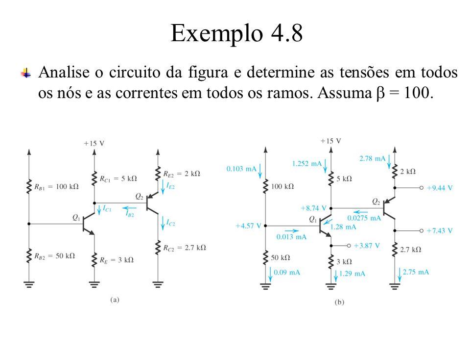 Exemplo 4.8 Analise o circuito da figura e determine as tensões em todos os nós e as correntes em todos os ramos. Assuma = 100.