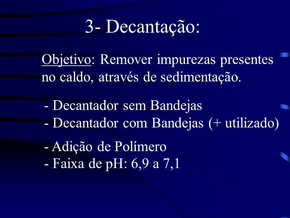3- Decantação: Objetivo: Remover impurezas presentes no caldo, através de sedimentação. - Decantador sem Bandejas - Decantador com Bandejas (+ utiliza
