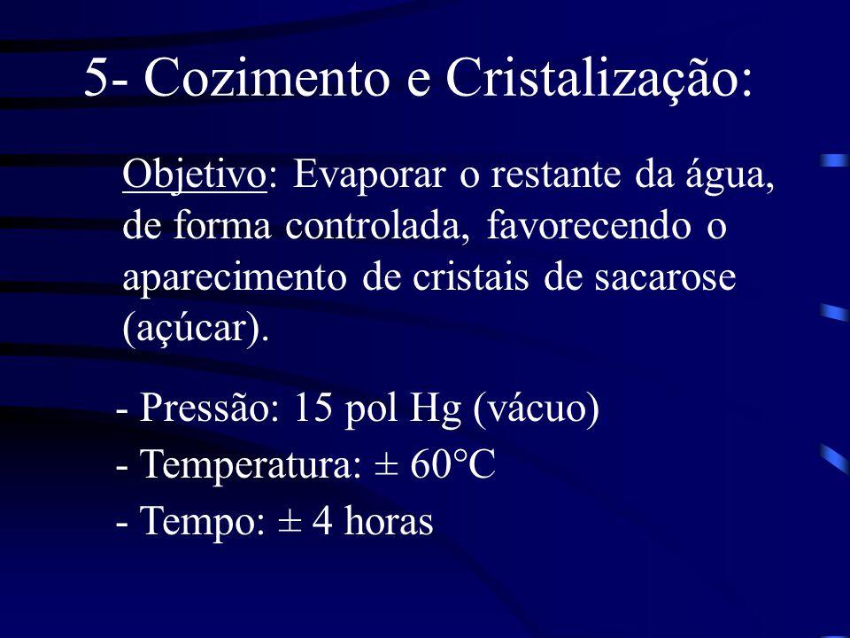 5- Cozimento e Cristalização: Objetivo: Evaporar o restante da água, de forma controlada, favorecendo o aparecimento de cristais de sacarose (açúcar).