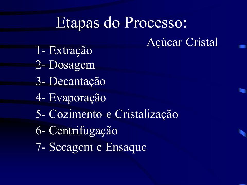 Etapas do Processo: 1- Extração 2- Dosagem 3- Decantação 4- Evaporação 5- Cozimento e Cristalização 6- Centrifugação 7- Secagem e Ensaque Açúcar Crist