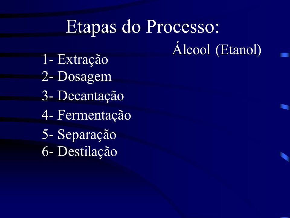 Etapas do Processo: 1- Extração 2- Dosagem 3- Decantação 4- Fermentação 5- Separação 6- Destilação Álcool (Etanol)
