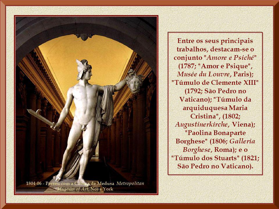 Entre os seus principais trabalhos, destacam-se o conjunto Amore e Psiché (1787; Amor e Psique , Musée du Louvre, Paris); Túmulo de Clemente XIII (1792; São Pedro no Vaticano); Túmulo da arquiduquesa Maria Cristina , (1802; Augustinerkirche, Viena); Paolina Bonaparte Borghese (1806; Galleria Borghese, Roma); e o Túmulo dos Stuarts (1821; São Pedro no Vaticano).