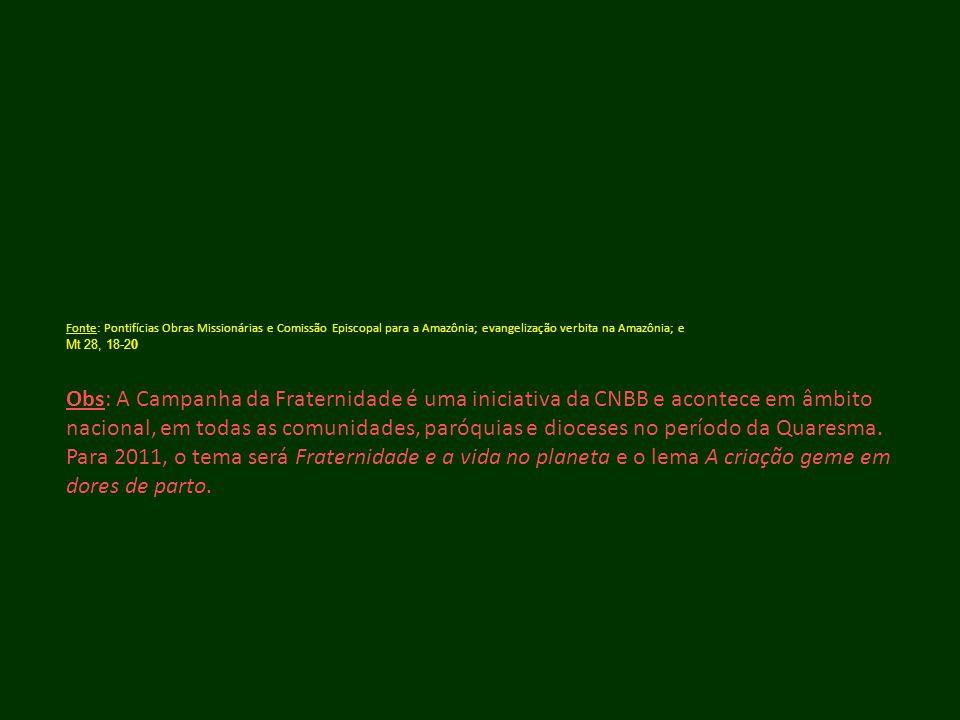 Fonte: Pontifícias Obras Missionárias e Comissão Episcopal para a Amazônia; evangelização verbita na Amazônia; e Mt 28, 18-20 Obs: A Campanha da Frate