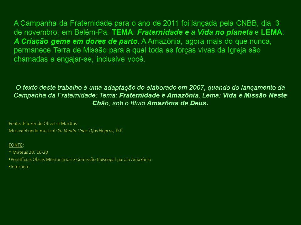 A Campanha da Fraternidade para o ano de 2011 foi lançada pela CNBB, dia 3 de novembro, em Belém-Pa. TEMA: Fraternidade e a Vida no planeta e LEMA: A