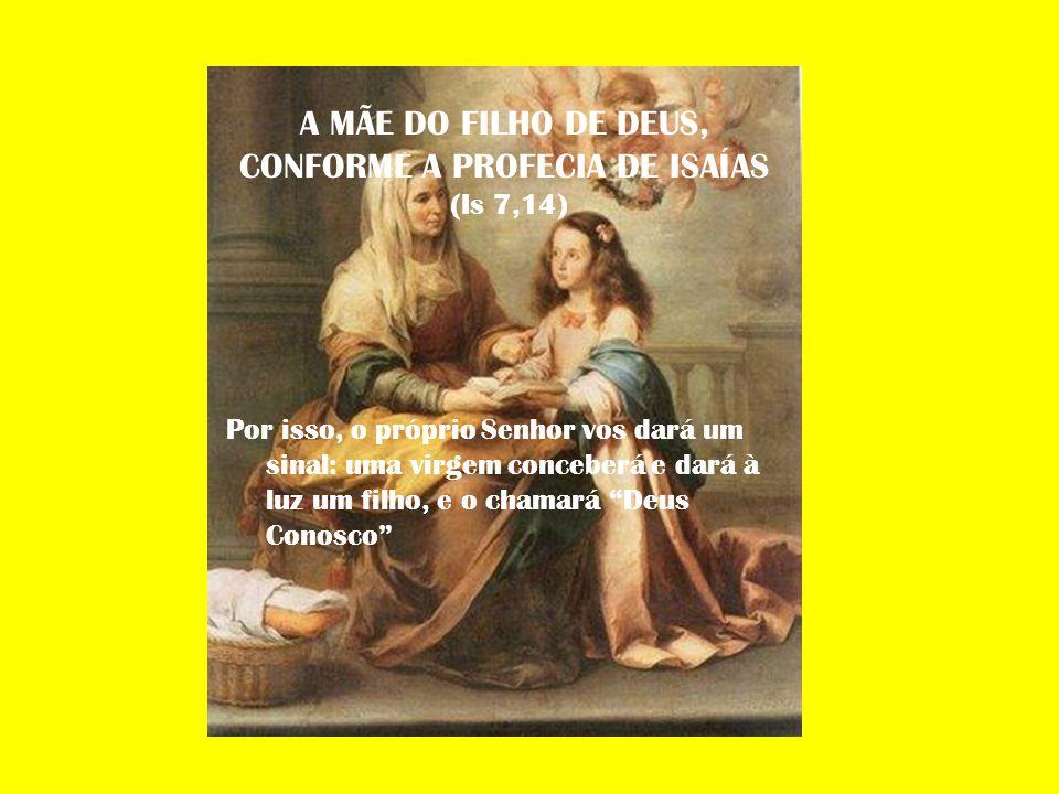 A MÃE DO FILHO DE DEUS, CONFORME A PROFECIA DE ISAÍAS (Is 7,14) Por isso, o próprio Senhor vos dará um sinal: uma virgem conceberá e dará à luz um fil