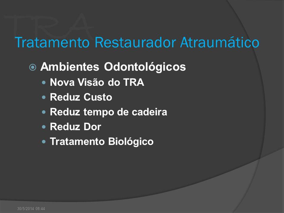 TRA Tratamento Restaurador Atraumático Ambientes Odontológicos Nova Visão do TRA Reduz Custo Reduz tempo de cadeira Reduz Dor Tratamento Biológico 30/
