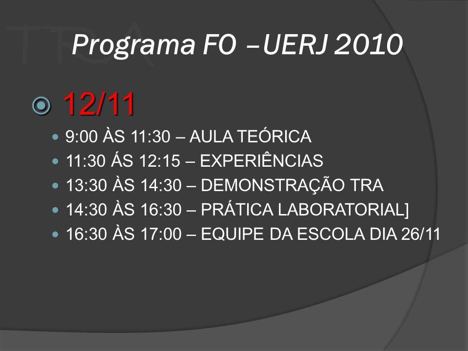 TRA Programa FO –UERJ 2010 12/11 12/11 9:00 ÀS 11:30 – AULA TEÓRICA 11:30 ÁS 12:15 – EXPERIÊNCIAS 13:30 ÀS 14:30 – DEMONSTRAÇÃO TRA 14:30 ÀS 16:30 – P