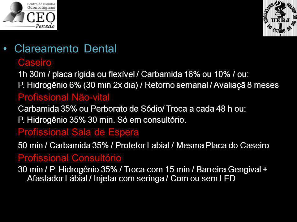 Clareamento Dental Caseiro 1h 30m / placa rígida ou flexível / Carbamida 16% ou 10% / ou: P. Hidrogênio 6% (30 min 2x dia) / Retorno semanal / Avaliaç