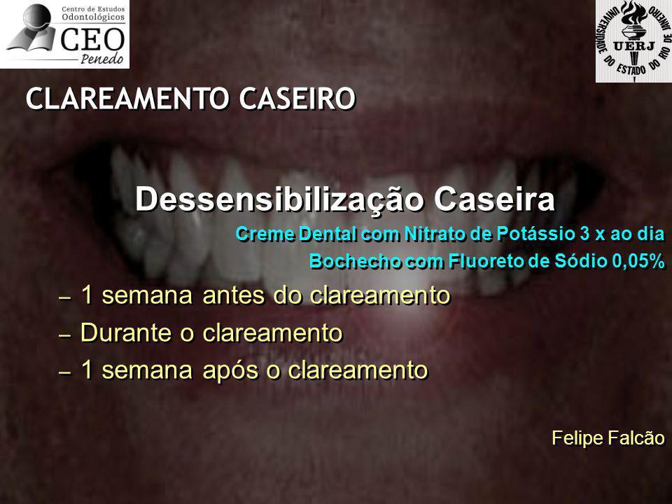 CLAREAMENTO CASEIRO Dessensibilização Caseira Creme Dental com Nitrato de Potássio 3 x ao dia Bochecho com Fluoreto de Sódio 0,05% – 1 semana antes do