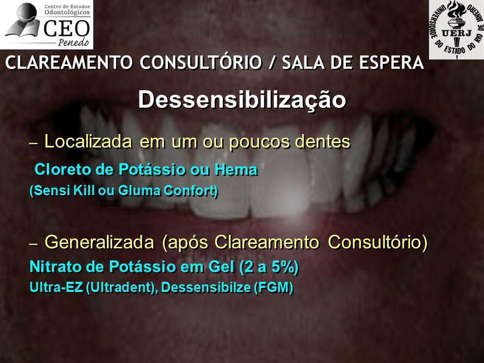 CLAREAMENTO CONSULTÓRIO / SALA DE ESPERA Dessensibilização – Localizada em um ou poucos dentes Cloreto de Potássio ou Hema (Sensi Kill ou Gluma Confor