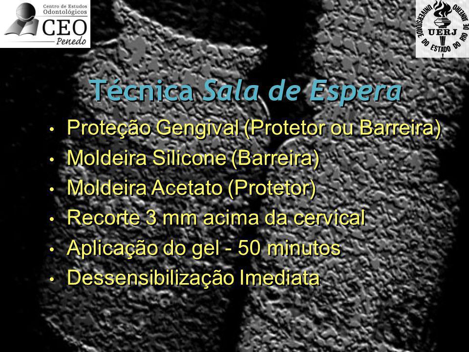 Técnica Sala de Espera Proteção Gengival (Protetor ou Barreira) Moldeira Silicone (Barreira) Moldeira Acetato (Protetor) Recorte 3 mm acima da cervica