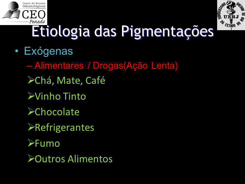 Etiologia das Pigmentações Exógenas –Alimentares / Drogas(Ação Lenta) Chá, Mate, Café Vinho Tinto Chocolate Refrigerantes Fumo Outros Alimentos Exógen