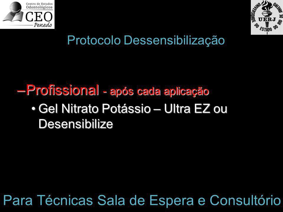 –Profissional - após cada aplicação Gel Nitrato Potássio – Ultra EZ ou DesensibilizeGel Nitrato Potássio – Ultra EZ ou Desensibilize Protocolo Dessensibilização Para Técnicas Sala de Espera e Consultório