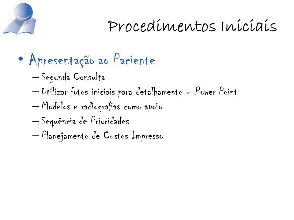 Procedimentos Iniciais Apresentação ao Paciente – Segunda Consulta – Utilizar fotos iniciais para detalhamento – Power Point – Modelos e radiografias