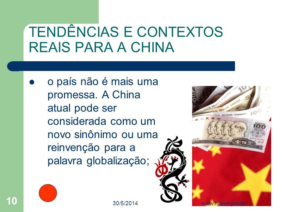 TENDÊNCIAS E CONTEXTOS REAIS PARA A CHINA o país não é mais uma promessa. A China atual pode ser considerada como um novo sinônimo ou uma reinvenção p