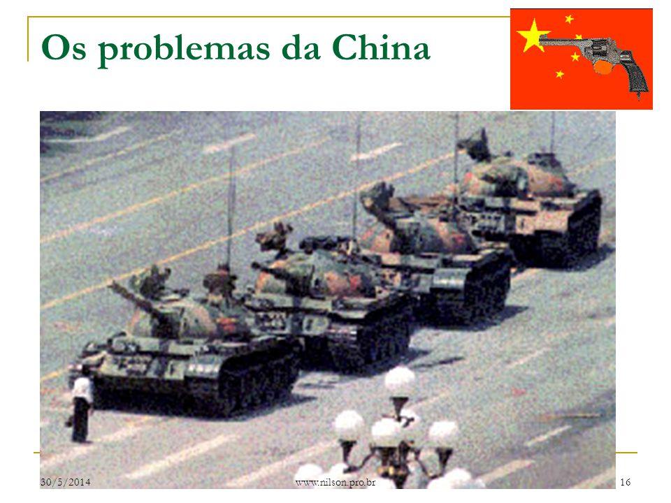 Os problemas da China A China ainda é um país socialista ditatorial, apresentando sérios problemas internos, como a intensa aplicação da pena de morte