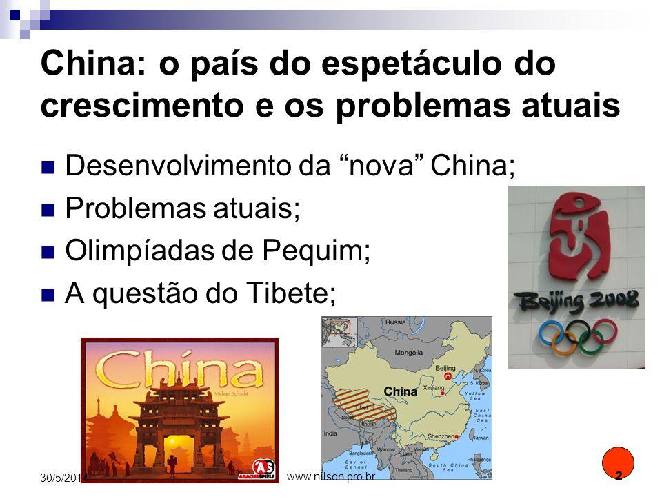 HISTÓRICO 1931: Invasão da Manchúria (NE do país) pelo Japão; 1939/45: durante a 2ª G.M., Nacionalistas e Comunistas se unem e expulsam os japoneses; Pós-guerra: conflito civil que leva a formação de dois países: Taiwan na ilha de Formosa (China capitalista) e RPC no continente (China socialista); 30/5/2014 3 www.nilson.pro.br