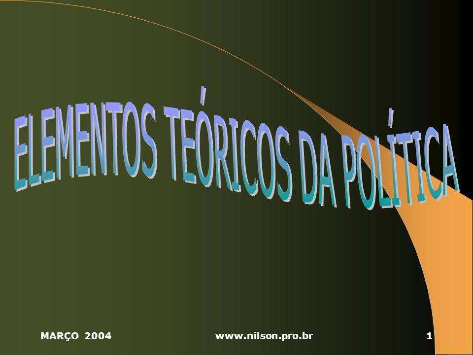 MARÇO 2004www.nilson.pro.br32 2.6 INSTITUIÇÕES POLÍTICAS ESTADO – É a nação politicamente organizada e dotada do atributo da soberania, representando o próprio ordenamento jurídico e detendo o monopólio do poder coercitivo.