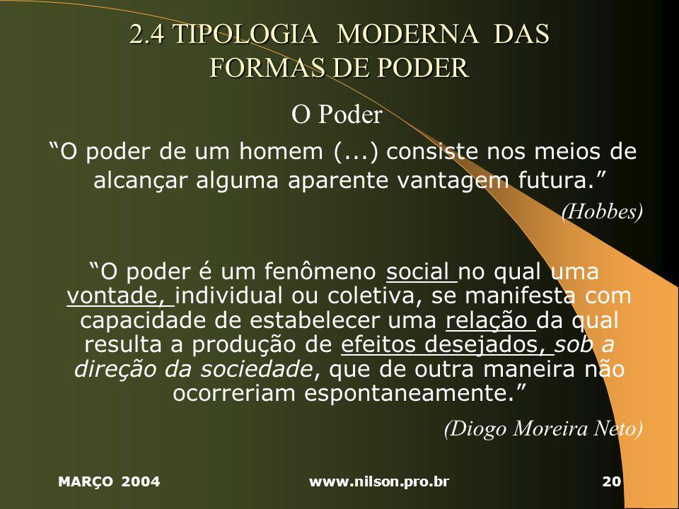 MARÇO 2004www.nilson.pro.br20 2.4 TIPOLOGIA MODERNA DAS FORMAS DE PODER O Poder O poder de um homem (...) consiste nos meios de alcançar alguma aparente vantagem futura.