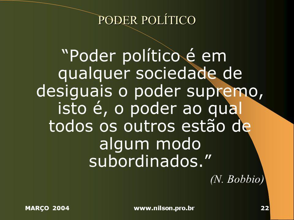 MARÇO 2004www.nilson.pro.br22 PODER POLÍTICO Poder político é em qualquer sociedade de desiguais o poder supremo, isto é, o poder ao qual todos os outros estão de algum modo subordinados.