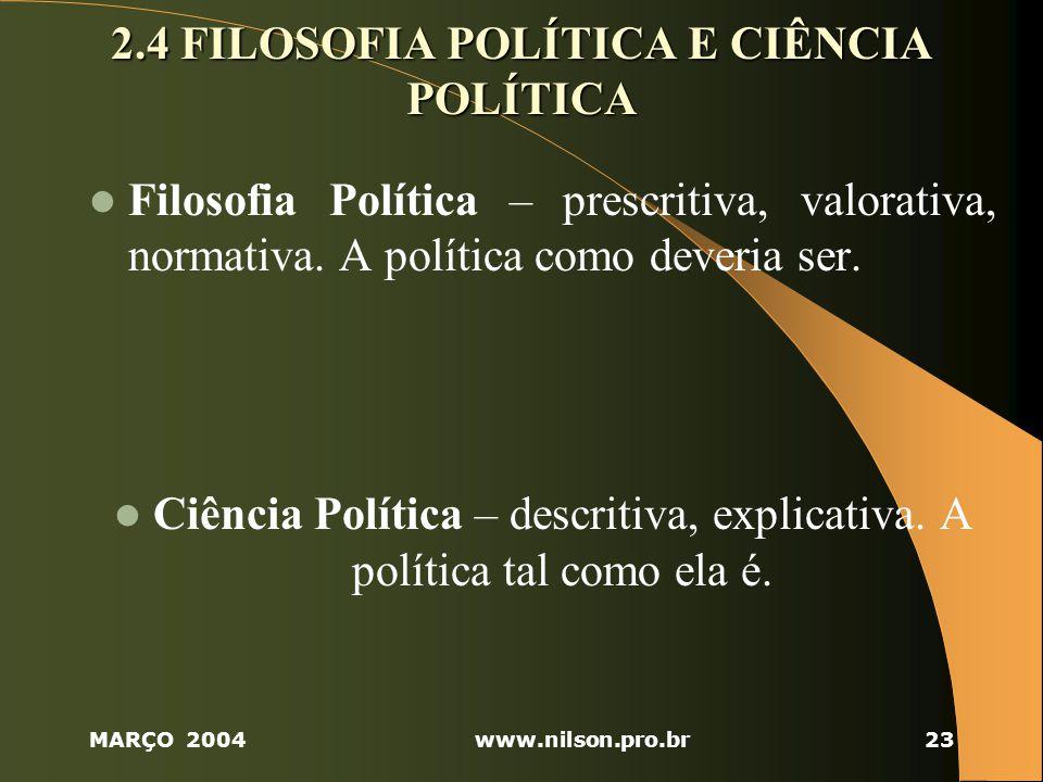 MARÇO 2004www.nilson.pro.br23 2.4 FILOSOFIA POLÍTICA E CIÊNCIA POLÍTICA Filosofia Política – prescritiva, valorativa, normativa.