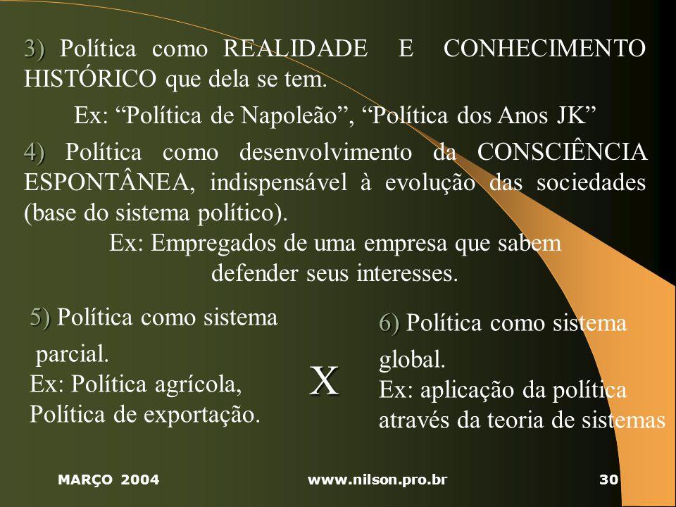 MARÇO 2004www.nilson.pro.br30 3) 3) Política como REALIDADE E CONHECIMENTO HISTÓRICO que dela se tem.