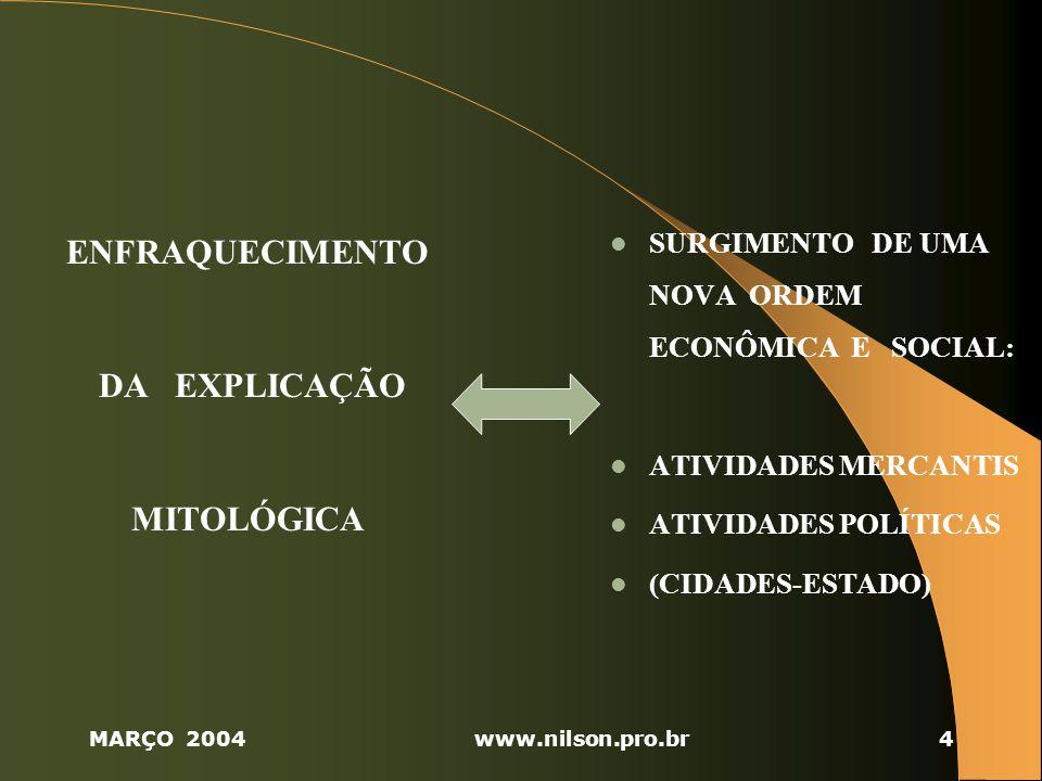 MARÇO 2004www.nilson.pro.br4 ENFRAQUECIMENTO DA EXPLICAÇÃO MITOLÓGICA SURGIMENTO DE UMA NOVA ORDEM ECONÔMICA E SOCIAL: ATIVIDADES MERCANTIS ATIVIDADES POLÍTICAS (CIDADES-ESTADO)