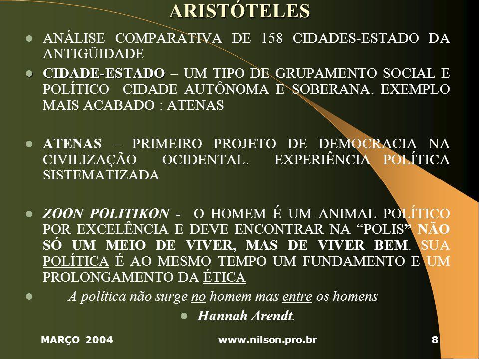 MARÇO 2004www.nilson.pro.br29 2.5 POLÍTICA – ACEPÇÕES DIVERSAS 1) 1) Política como PROGRAMA DE AÇÃO ou atividade de indivíduos, instituições ou governos.