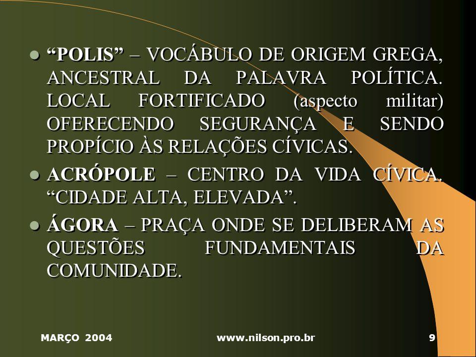 MARÇO 2004www.nilson.pro.br9 POLIS – VOCÁBULO DE ORIGEM GREGA, ANCESTRAL DA PALAVRA POLÍTICA.