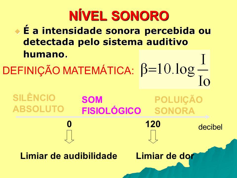 NÍVEL SONORO É a intensidade sonora percebida ou detectada pelo sistema auditivo humano. É a intensidade sonora percebida ou detectada pelo sistema au