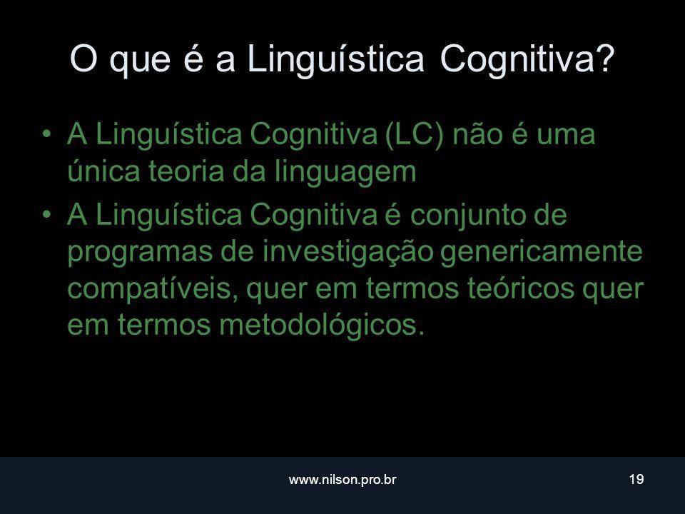 www.nilson.pro.br19 O que é a Linguística Cognitiva.
