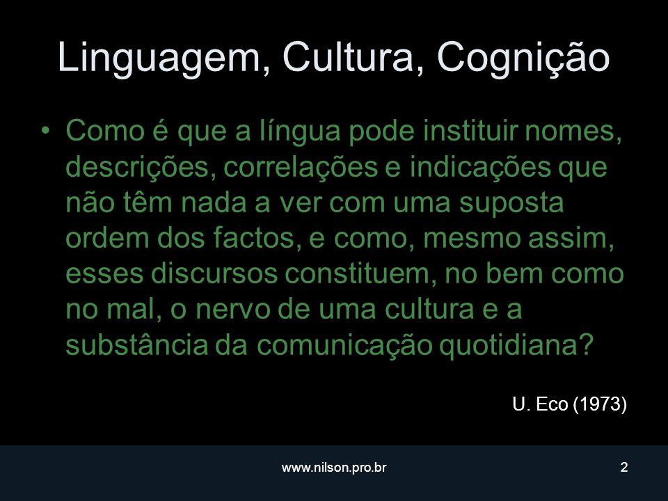 www.nilson.pro.br43 Para saber mais… Textos Introdutórios à Linguística Cognitiva –Linguística Cognitiva – um novo paradigma?Linguística Cognitiva – um novo paradigma.