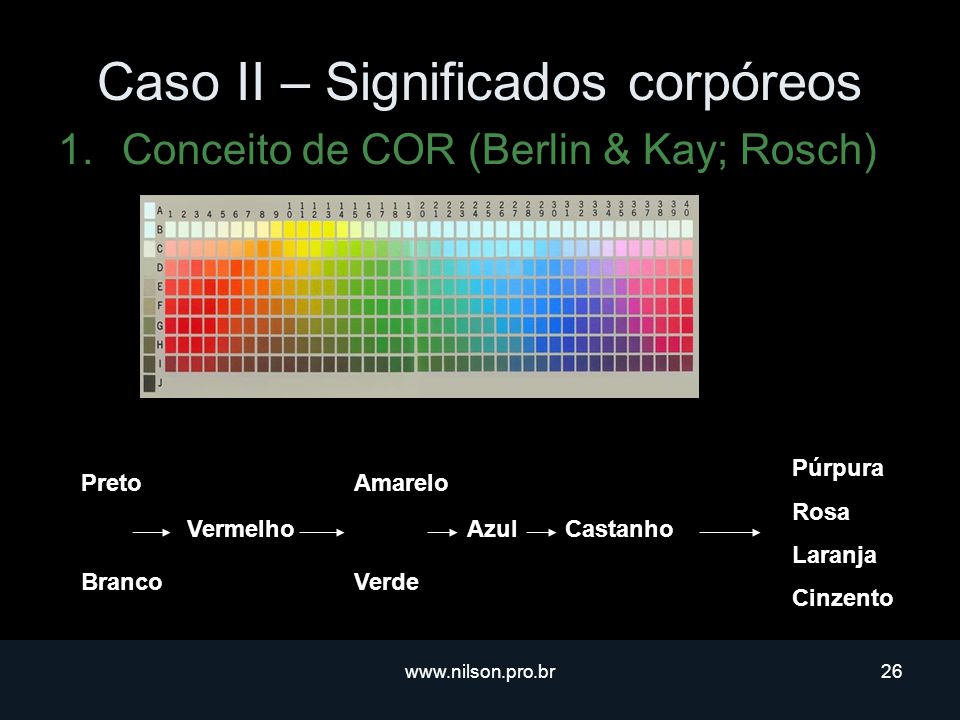 www.nilson.pro.br26 Caso II – Significados corpóreos 1.Conceito de COR (Berlin & Kay; Rosch) Preto Branco Vermelho Amarelo Verde AzulCastanho Púrpura Rosa Laranja Cinzento