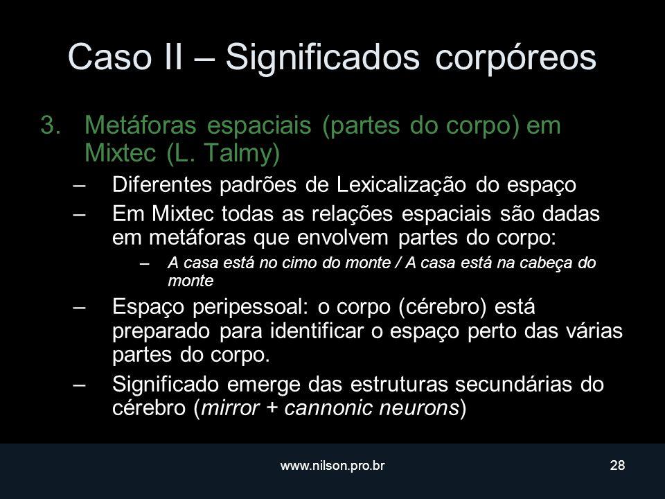www.nilson.pro.br28 Caso II – Significados corpóreos 3.Metáforas espaciais (partes do corpo) em Mixtec (L.