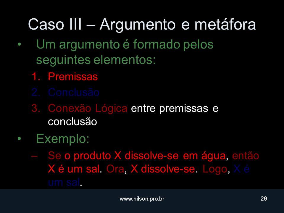 www.nilson.pro.br29 Caso III – Argumento e metáfora Um argumento é formado pelos seguintes elementos: 1.Premissas 2.Conclusão 3.Conexão Lógica entre premissas e conclusão Exemplo: –Se o produto X dissolve-se em água, então X é um sal.