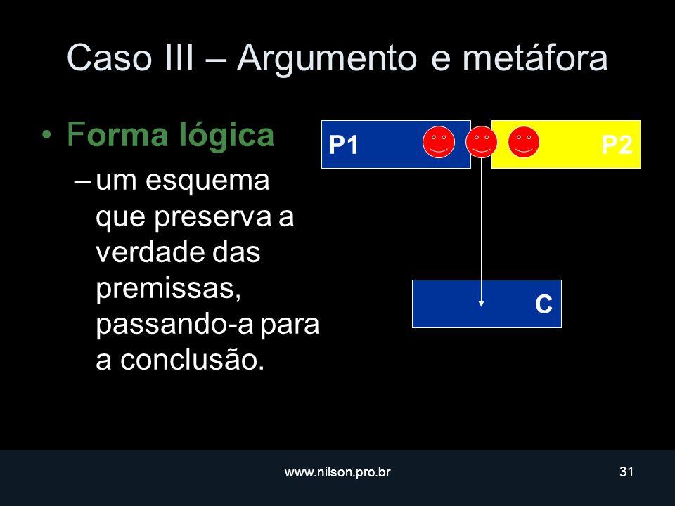 www.nilson.pro.br31 Caso III – Argumento e metáfora Forma lógica –um esquema que preserva a verdade das premissas, passando-a para a conclusão.