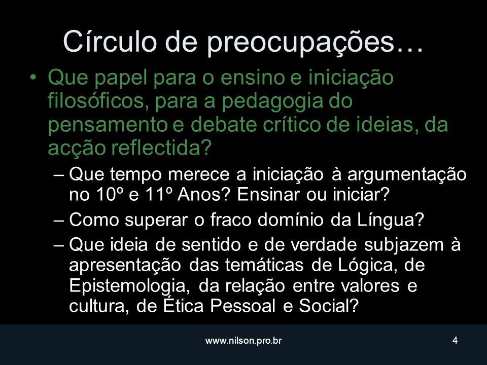 www.nilson.pro.br4 Círculo de preocupações… Que papel para o ensino e iniciação filosóficos, para a pedagogia do pensamento e debate crítico de ideias, da acção reflectida.