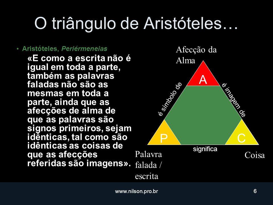 www.nilson.pro.br6 O triângulo de Aristóteles… Aristóteles, Periérmeneias «E como a escrita não é igual em toda a parte, também as palavras faladas não são as mesmas em toda a parte, ainda que as afecções de alma de que as palavras são signos primeiros, sejam idênticas, tal como são idênticas as coisas de que as afecções referidas são imagens».