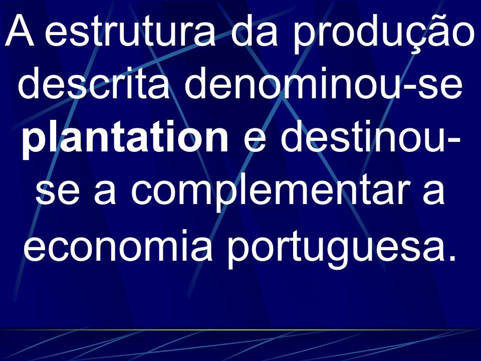 A estrutura da produção descrita denominou-se plantation e destinou- se a complementar a economia portuguesa.