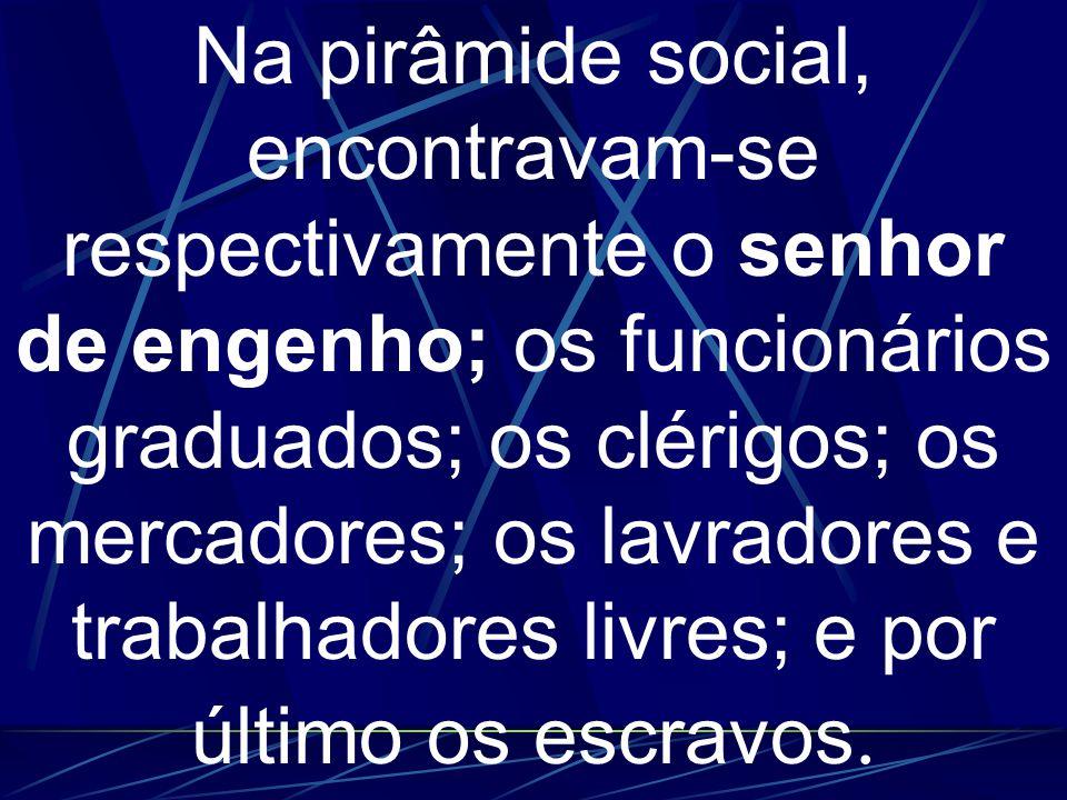 Na pirâmide social, encontravam-se respectivamente o senhor de engenho; os funcionários graduados; os clérigos; os mercadores; os lavradores e trabalh